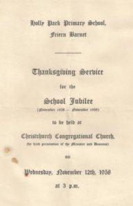 Jubilee progamme 1958